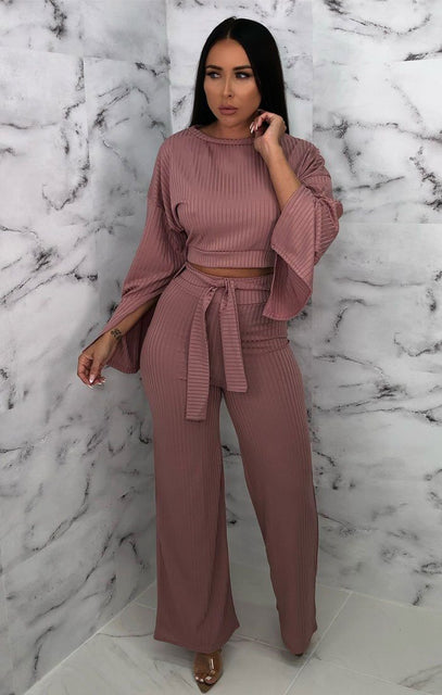 Pink Ribbed Flare Sleeve Loungewear - Neveah