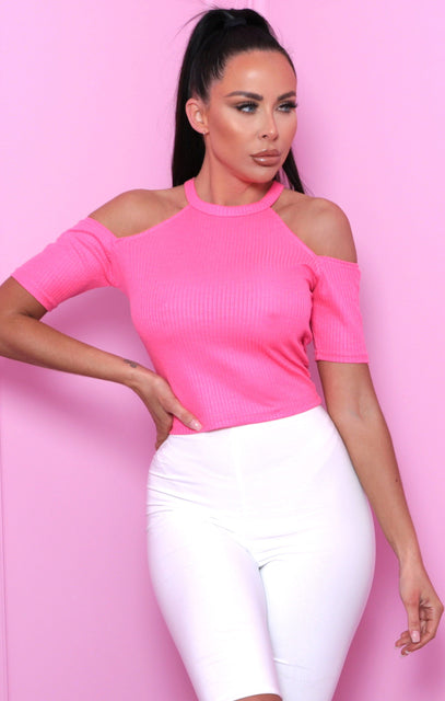 Pink Ribbed High Neck Bardot Top - Abril