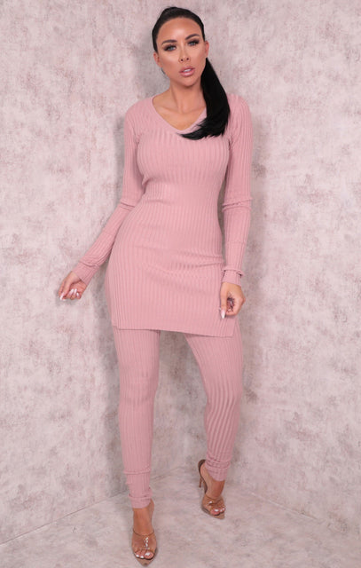 Pink Ribbed Knitted V-Neck Leggings Loungewear Set - Lannie