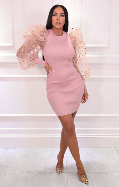 Pink Ribbed Polka Dot Organza Sleeve Bodycon Mini Dress - Cyrus
