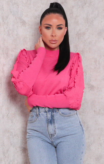 Pink Ribbed Ruffle Sleeve Fitted Top - Tiffany