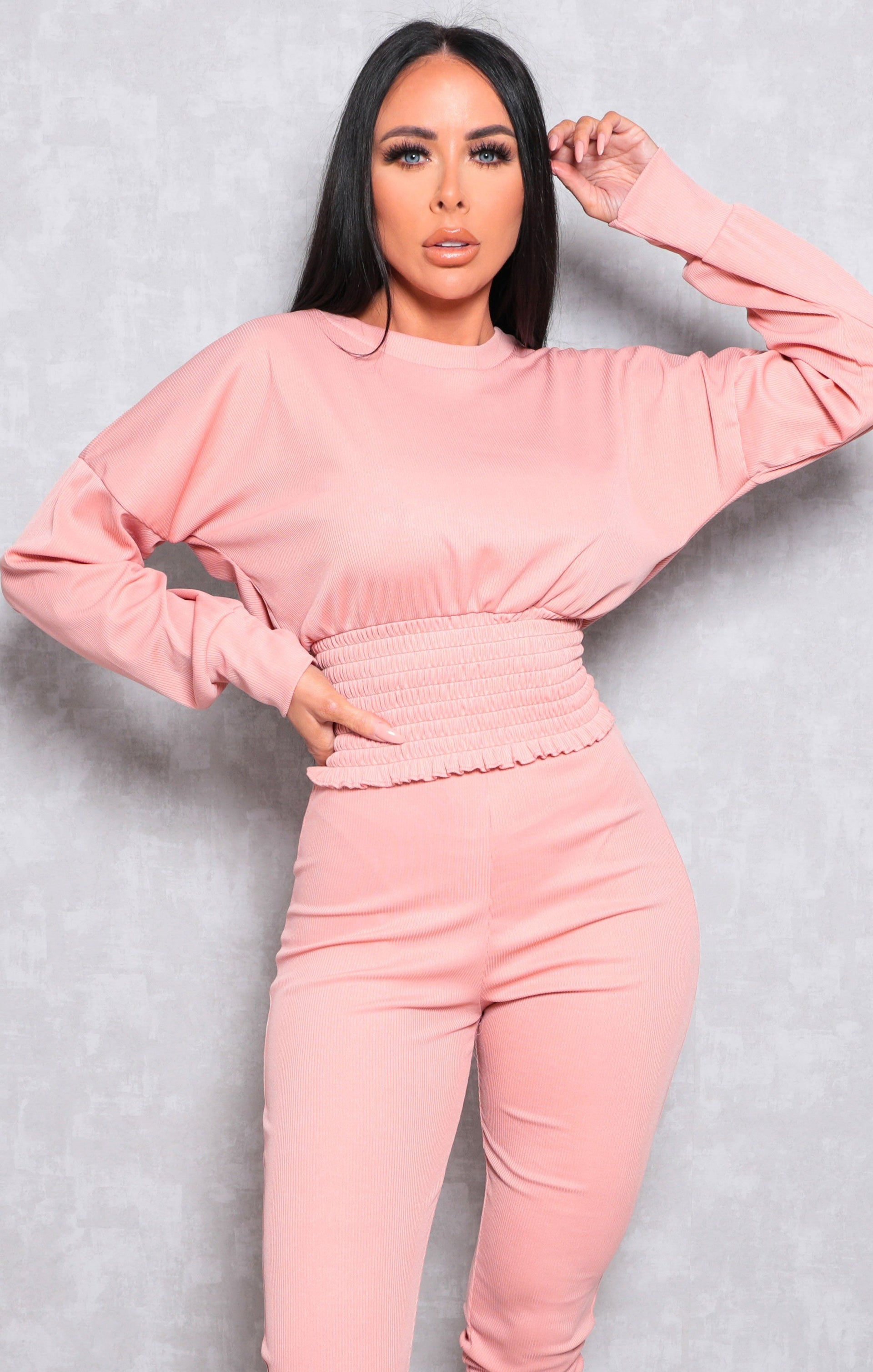 Pink Ribbed Shrilled Waist Loungewear Set - Talia
