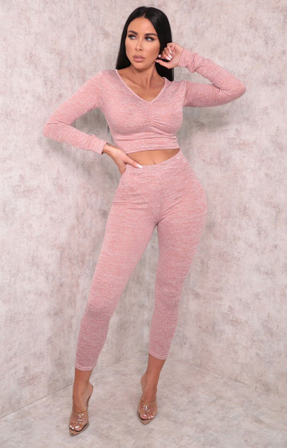 Pink Ruched Front Long Sleeve Leggings Loungewear Set - Rosa