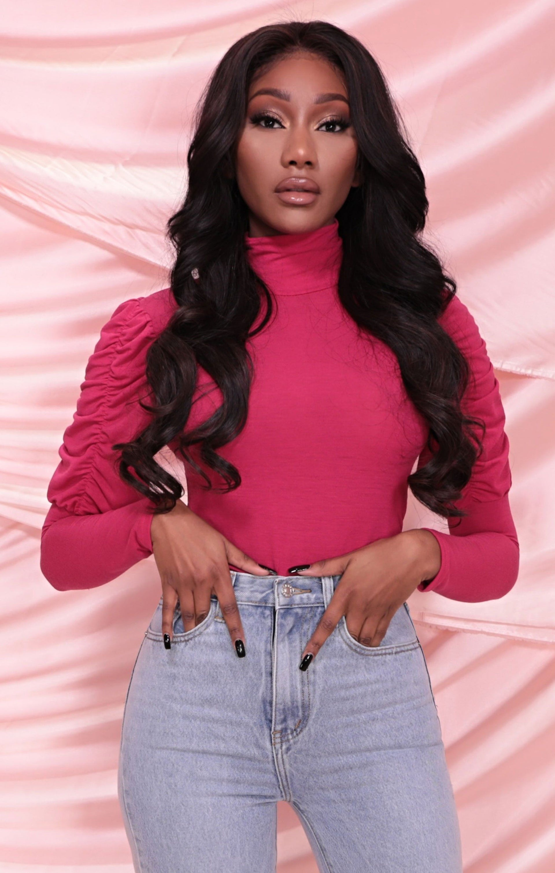 Pink Ruched Puff Sleeve High Neck Fitted Top - Alyssa