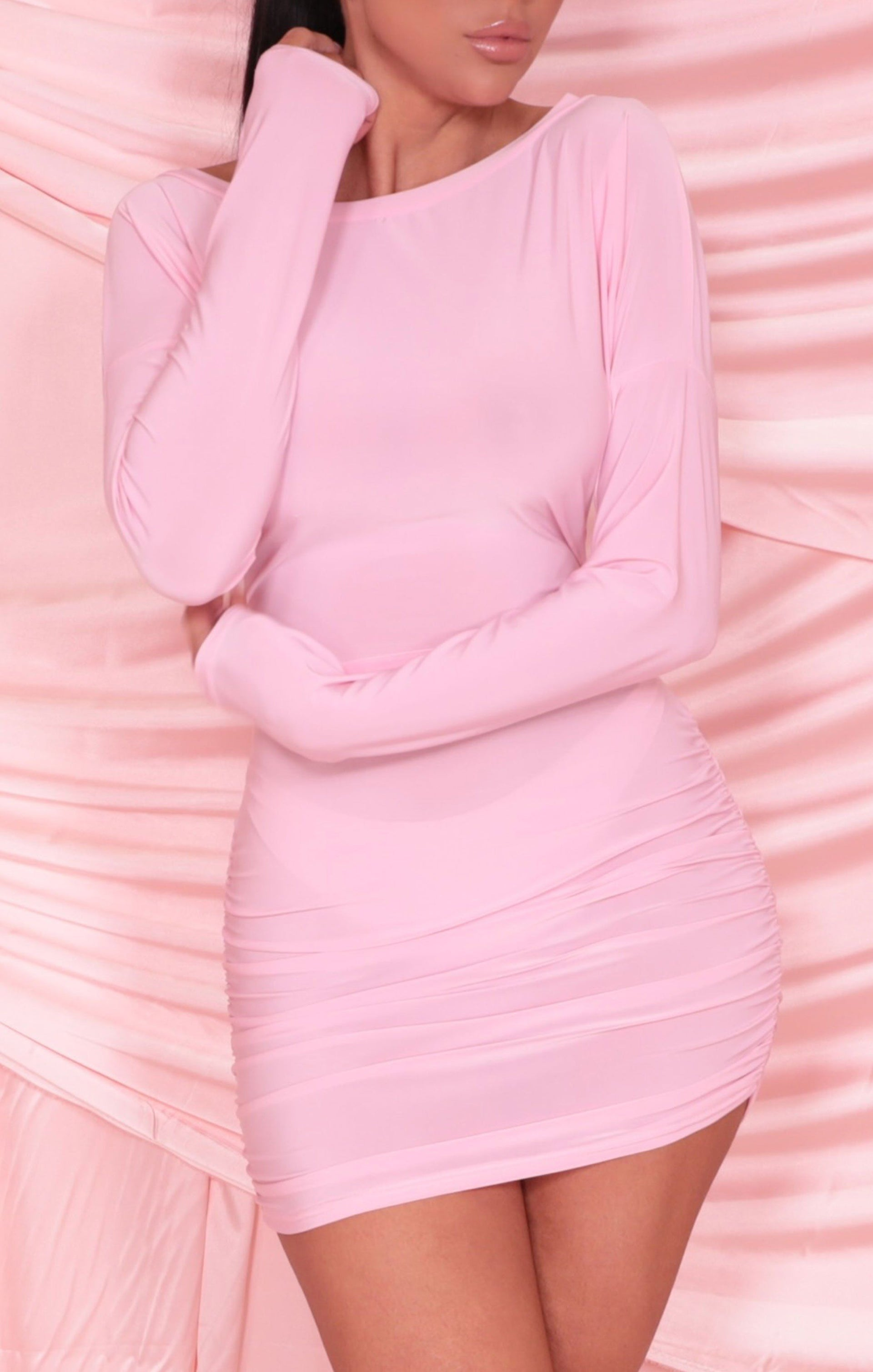 Pink Ruched Side Long Sleeve Slinky Bodycon Mini Dress - Mandy