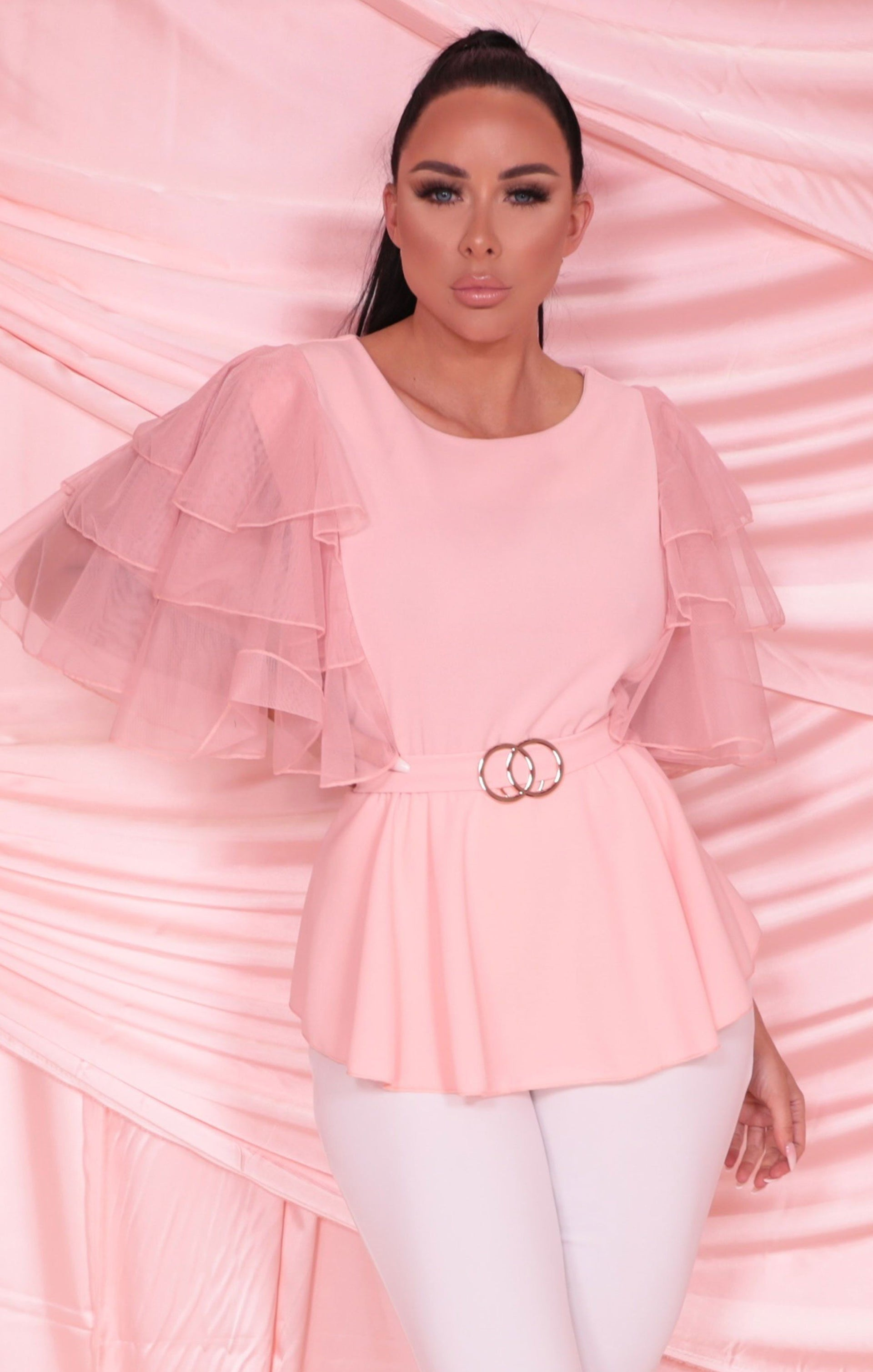 Pink Ruffle Frill Mesh Sleeve Double Circle Belt Top - Olwen