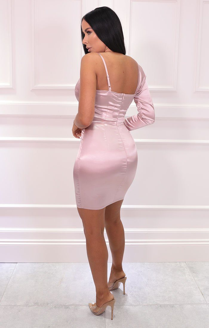 Pink Satin One Sleeve Plunge Bodycon Mini Dress - Morgan