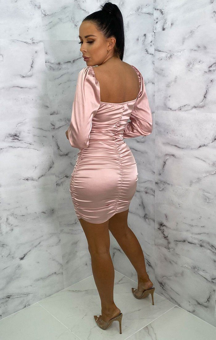 Pink Satin Ruched Bodycon Mini Dress - Eletra