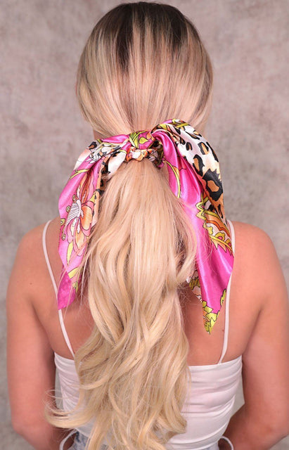 Pink Scarf Print Satin Hair Scrunchie - Lia