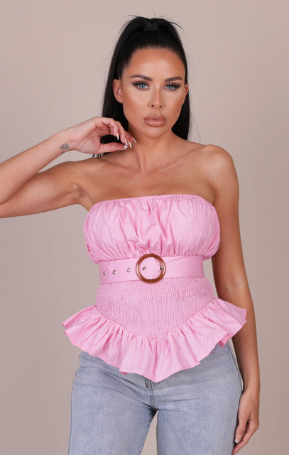 Pink Sheared Belted Frill Strapless Top - Shelly