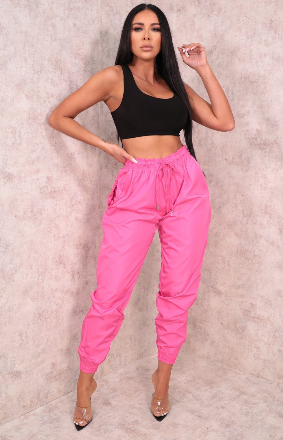 Pink Shellsuit Elasticated Cuffed Joggers - Ashby