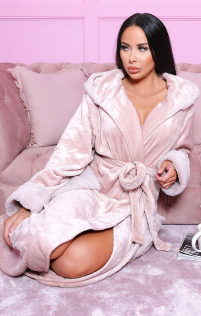 Pink Shimmer Fleece Faux Fur Robe - Anya