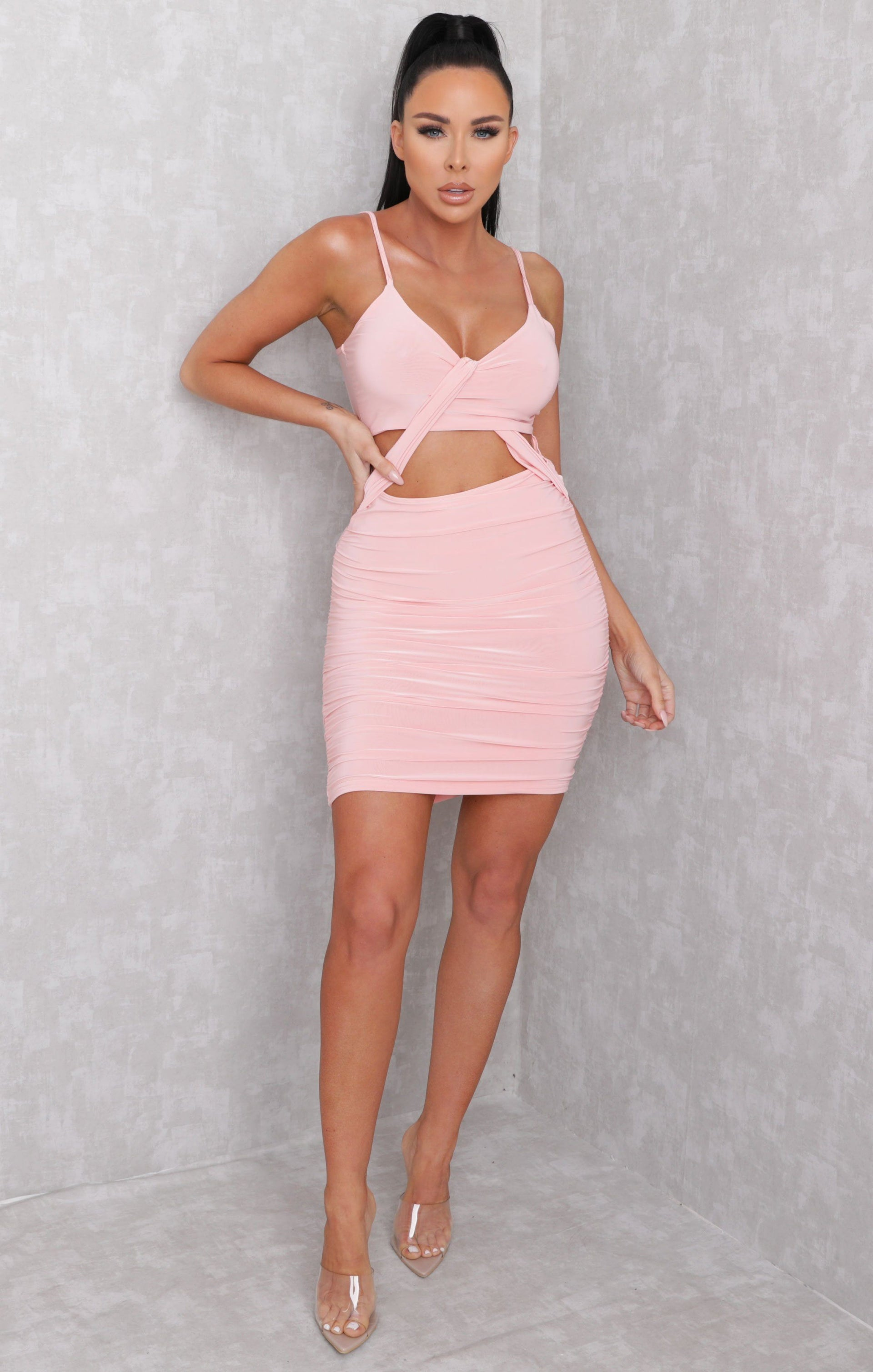 Pink Slinky Drape Front Ruched Bodycon Mini Dress - True