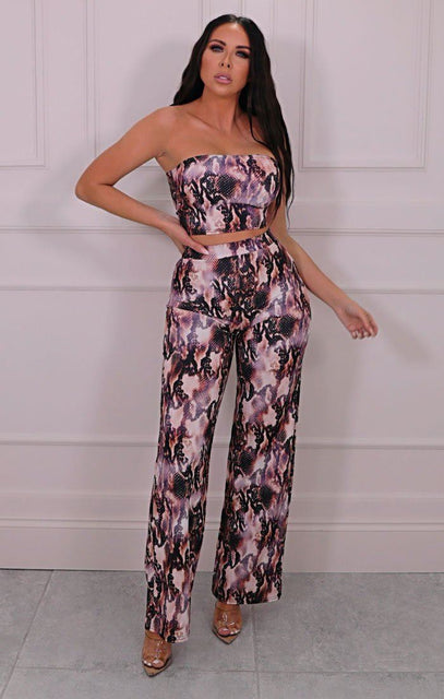 Pink Snake Print Bandeau Flare Leg Co-ord - Wendy