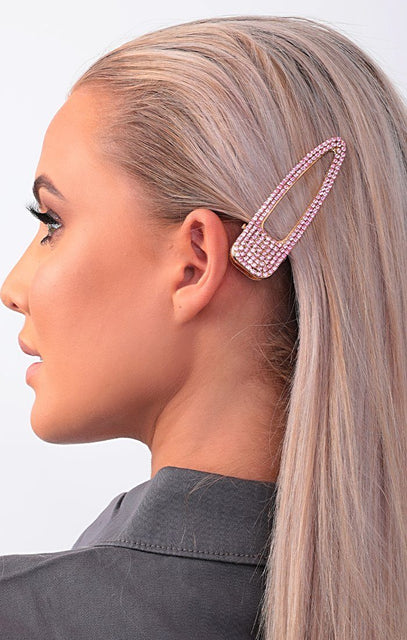 Pink Sparkly Diamante Oversized Hair Clip - Soriya