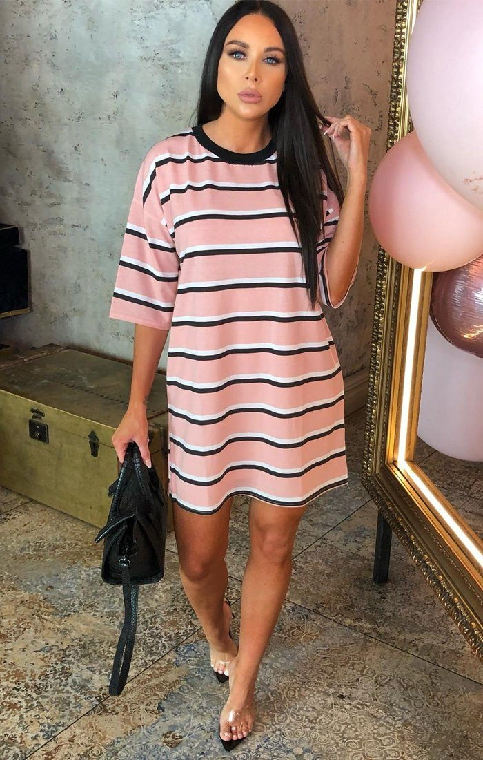bb5c29ef835f Pink Stripe Oversized T-Shirt Dress - Nova