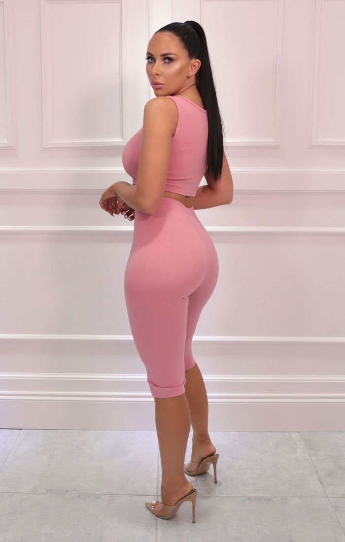 Pink Thick Strap Top Cropped Cycling Shorts Co-ord - Davina