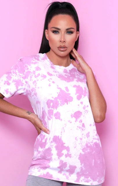 Pink Tie Dye Oversized T-Shirt - Veda