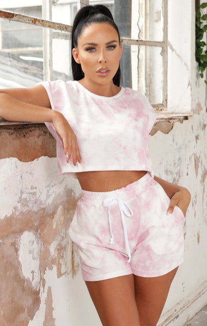 Pink Tie Dye Short Sleeve Top Co-ord - Lorena