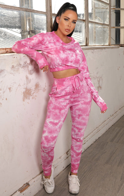 Pink Tie Dye Sweatshirt Loungewear Set - Chelsey NO PRICE DONT PUT LIVE