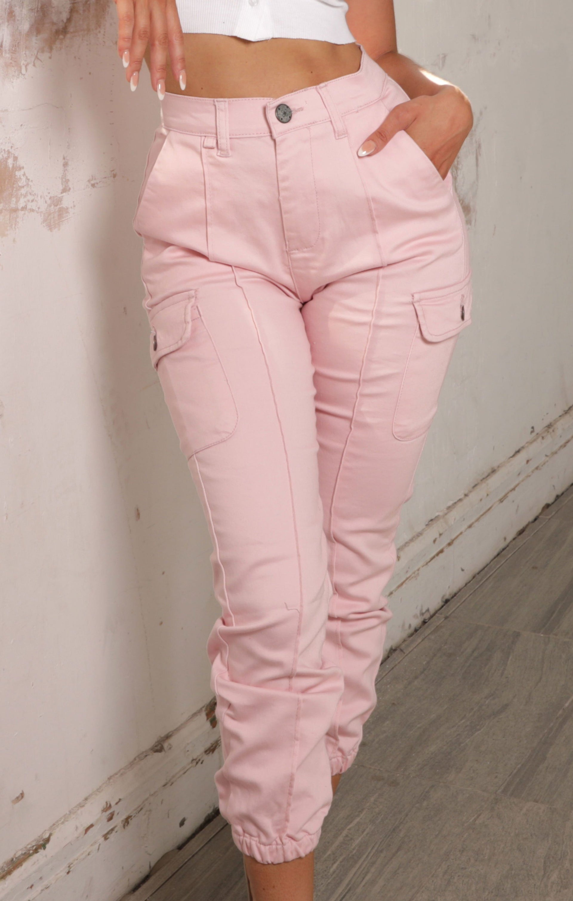 Pink Utility Cuffed Trousers - Sunny