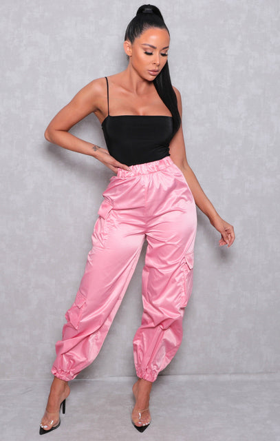 Pink Utility Elasticated Cuffed Joggers - Tina