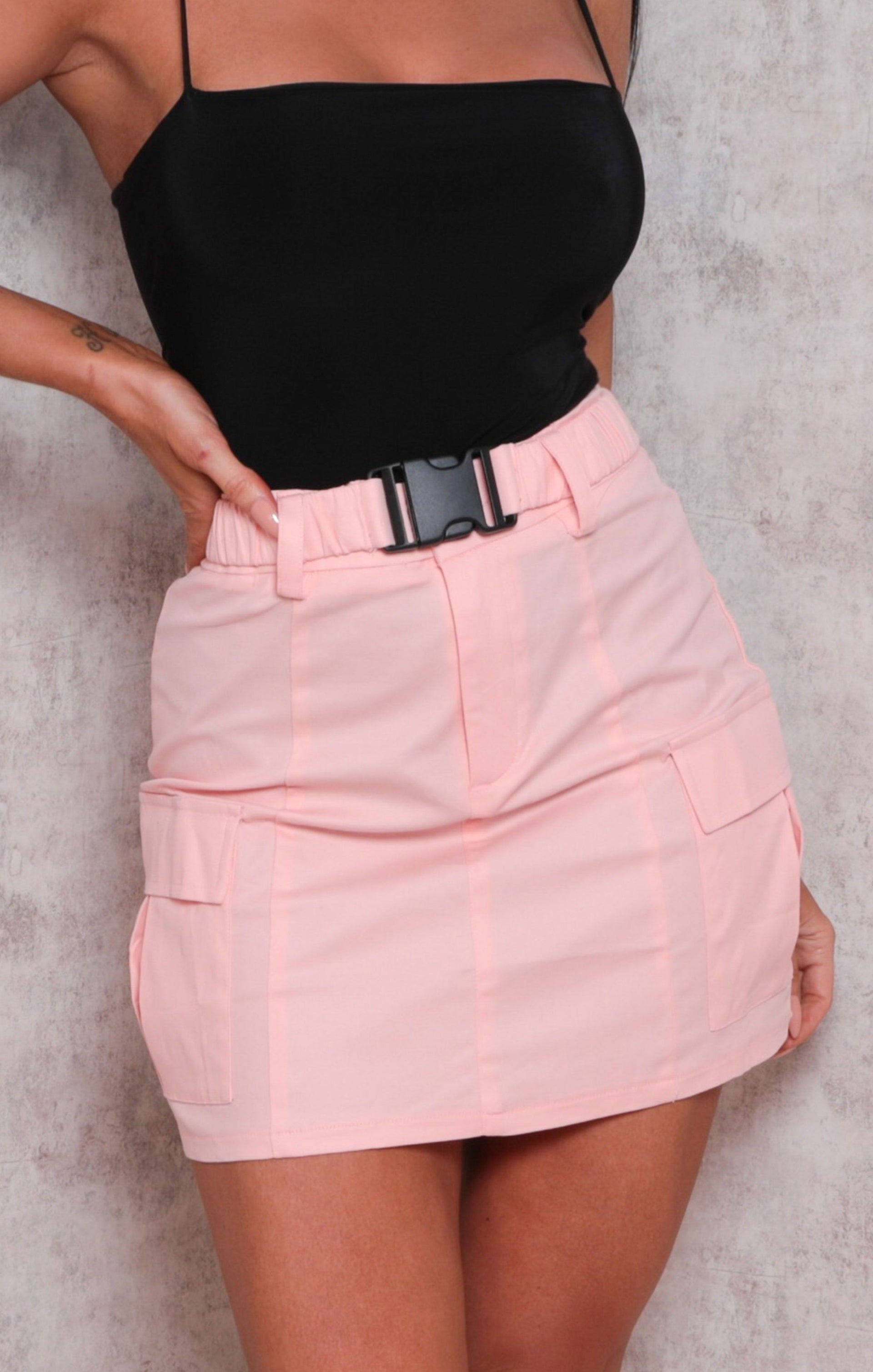 Pink Utility Pocket Detail Mini Skirt - Cian