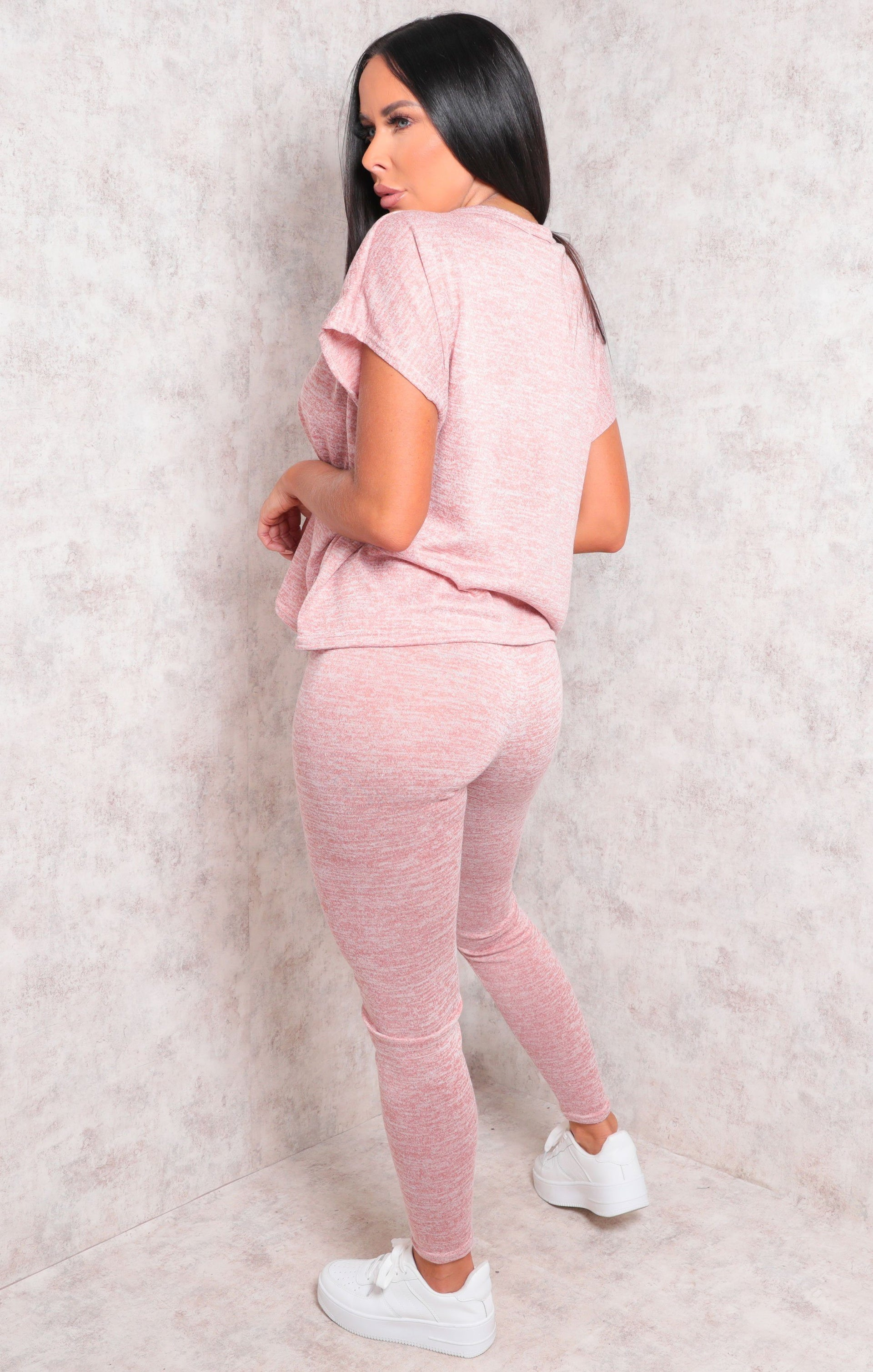 Pink V-Neck Short Sleeve Leggings Loungewear Set - Gala