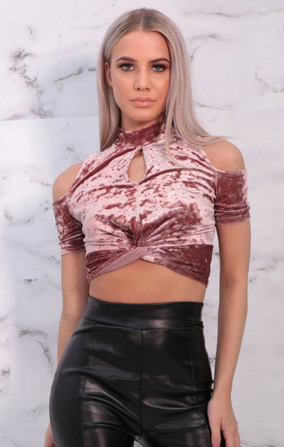 Pink Velvet High Neck Crop Top - Danni