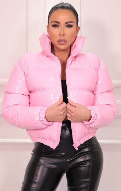 Pink Vinyl High Shine Padded Puffer Jacket - Aimee