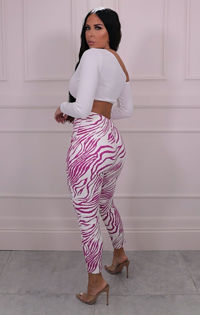 Pink & White Zebra Print PU High Waisted Leggings - Zoe
