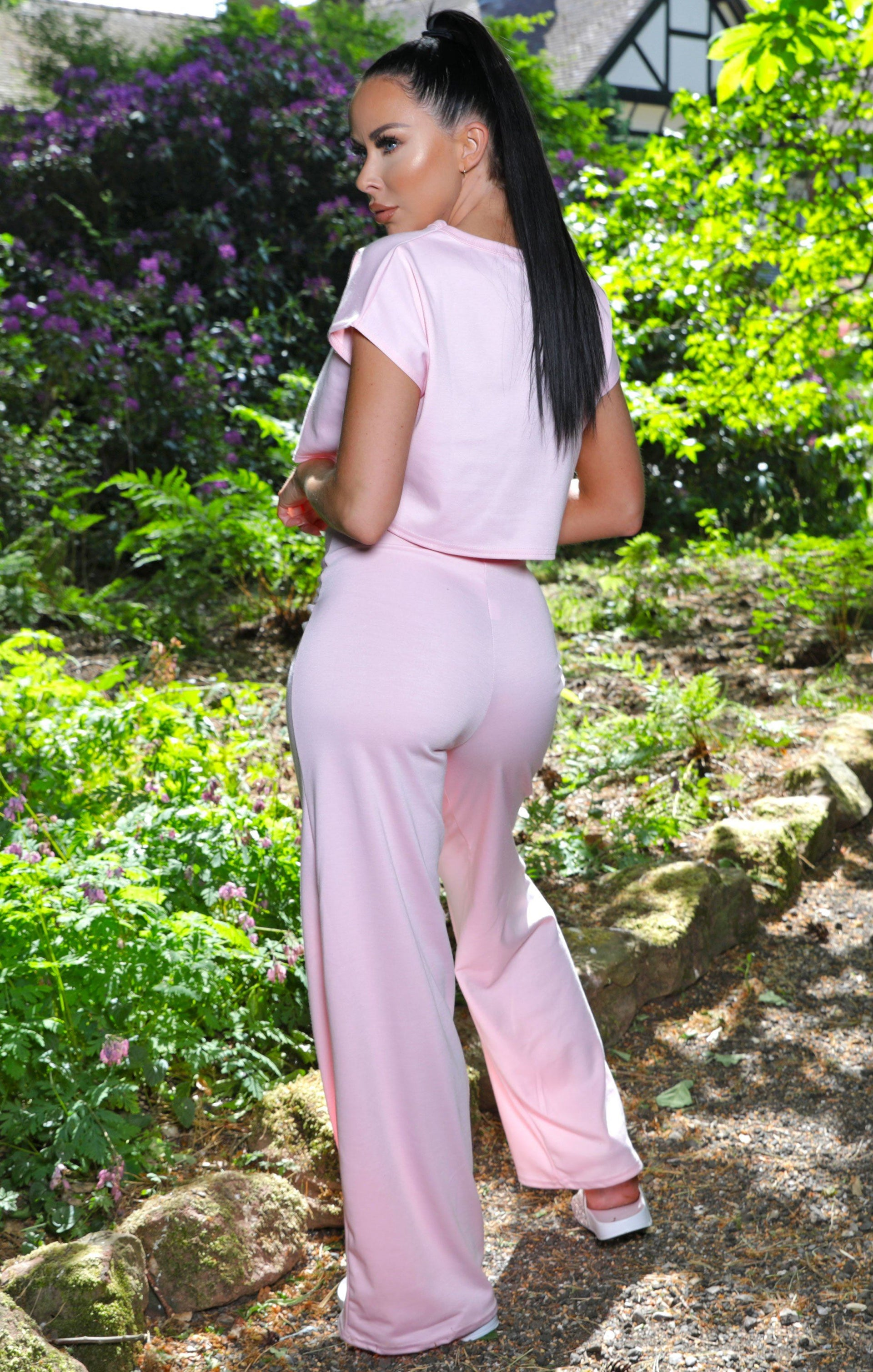 Pink Wide Leg Tie Waist Loungewear Set - Sophia NO PRICE DONT PUT LIVE