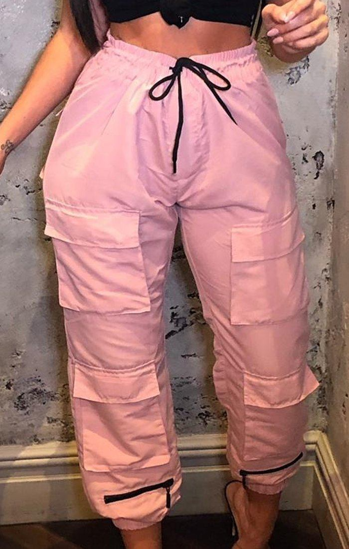 Pink Zip Cargo Trousers - Kathy