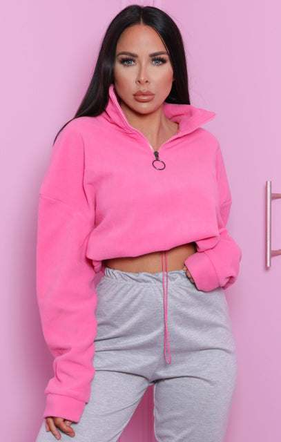 Pink Zip Up Cropped Fleece Sweatshirt - Julissa