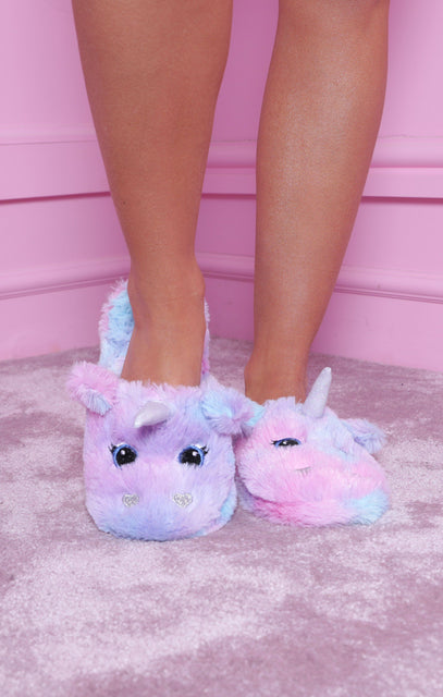 Purple Fluffy Unicron Slippers - Lara