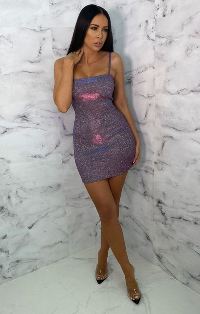 Purple Glitter Metallic Strappy Bodycon Mini Dress - Gwen