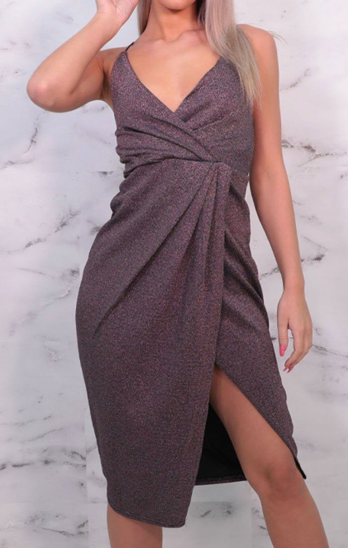 Purple Glitter Wrap Plunge Bodycon Mini Dress - Polly