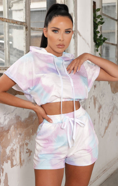 Purple Tie Dye Cropped Hoodie Co-ord - Maria