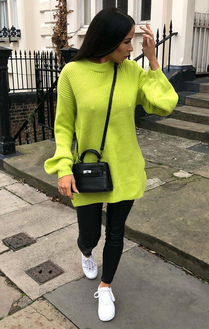 Lime Oversized Split Side Knitted Jumper - Cat
