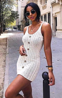 Cream Ribbed Knit Button Detail Mini Dress - Kerry