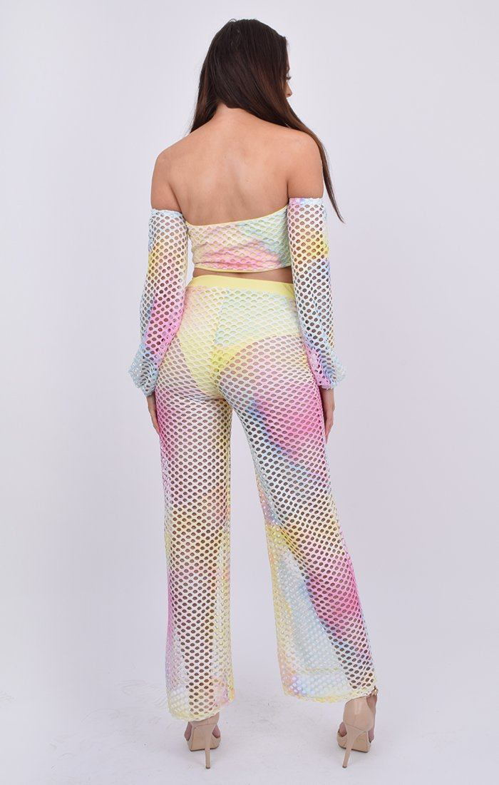 Rainbow Bardot Tie Front Top & Trouser Co-ord - Philo
