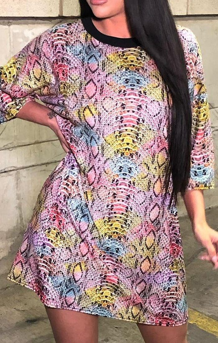 Rainbow Snake Print Oversized T-shirt Dress - Tia
