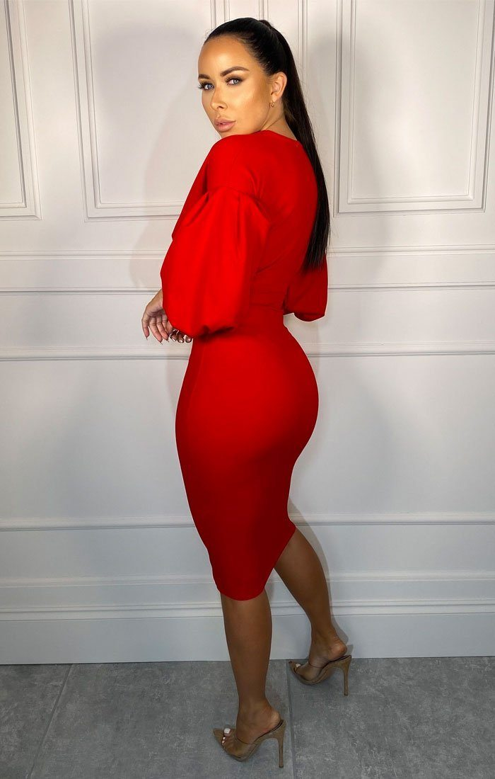 Red Belted Bodycon Midi Dress - Angelica