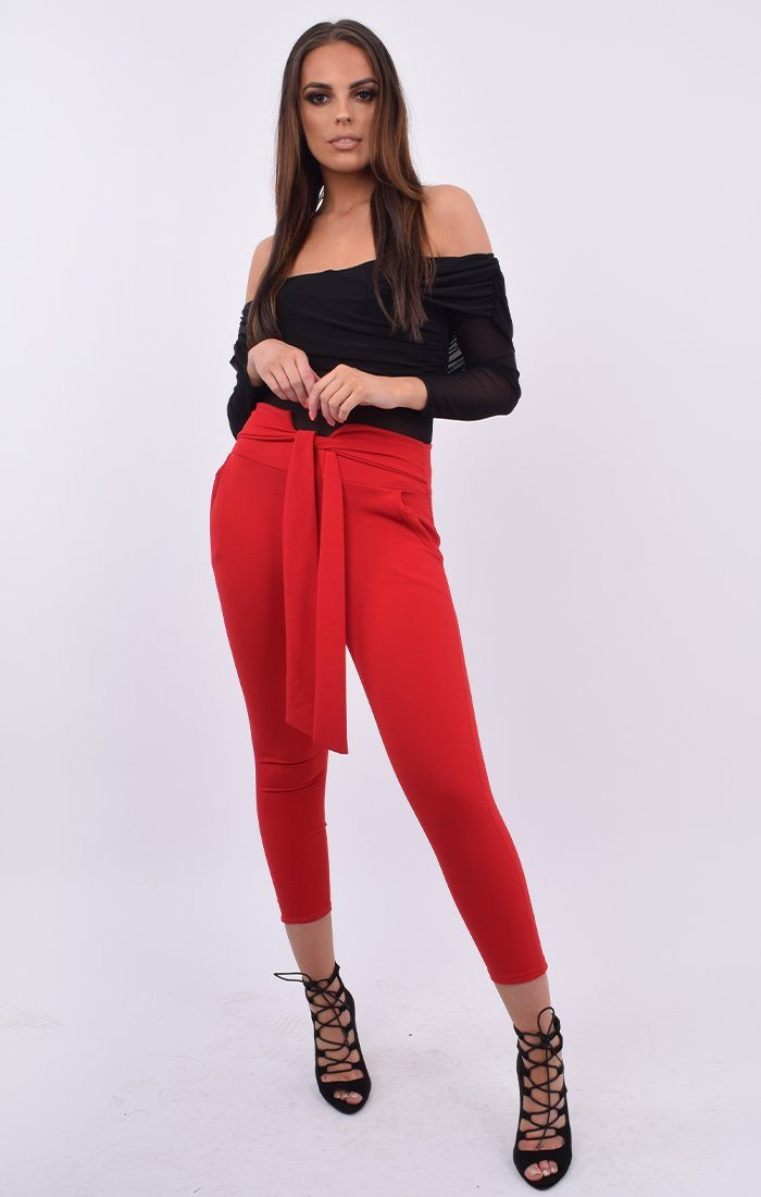 Red Belted Trousers - Sacha