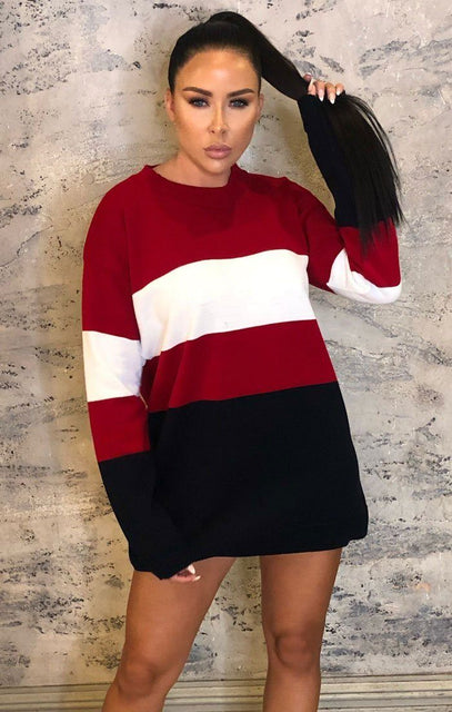 Red Colour Block Mini Jumper Dress - Georgia