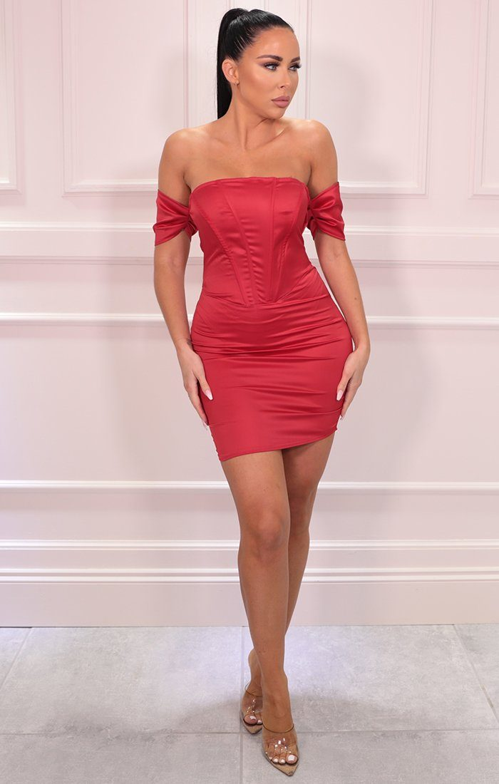 Red Corset Satin Bardot Bodycon Mini Dress - Jade