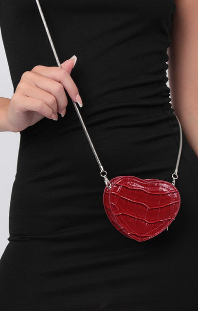 Red Croc Heart Cross Body Bag - Yolanda