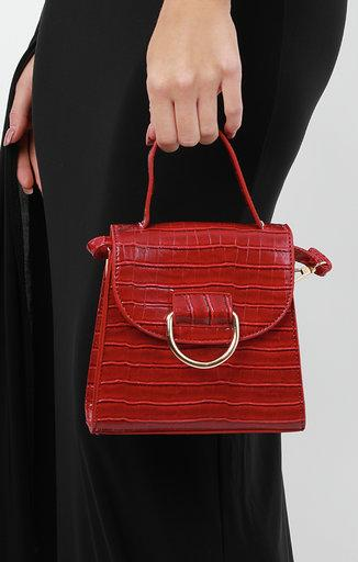 Red Croc Print Shoulder Grab Bag - Mercy