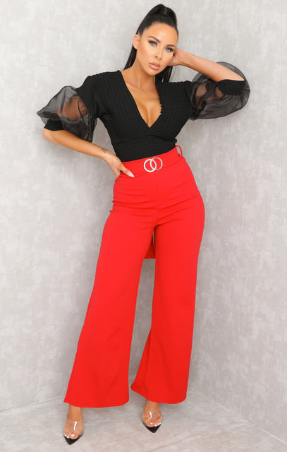 Red Double Circle Belt Flare Leg Trousers - Priya