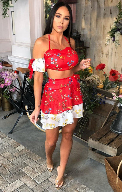 Red Floral Bardot Co-Ord - Itzel
